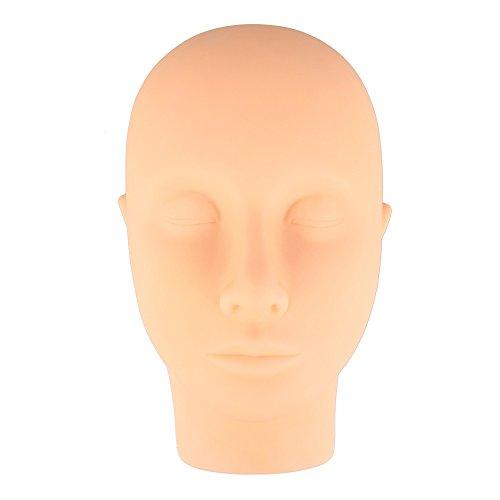 Beauty7 Mannequin Tete Presentoir Plate en Silicone pour Pratique Cils Extensions de Cils Maquillage Cosmetologie Entrainement Make up Exercice Eyelashes