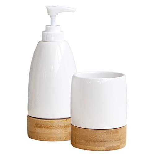 2pcs Seifenspender Lotionspender Pumpspender Leer Flüssigseifen Shampoo Flasche mit Zahnbürste Becher aus Keramik