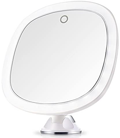 Miusco 7X Magnifying Lighted Makeup Mirror, 9 inch Enlarged Mirror, Cordless Travel Mirror, Vanity Mirror with Locking Suction, Battery or USB