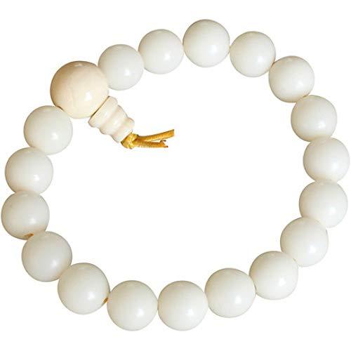 yayoushen Bracelets, Bracelets Racine de Bodhi Blancs Graines Brutes Perles de Bodhi Polies Bracelets Cadeaux Hommes et Femmes