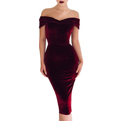 Amlaiworld Vestido Largo para Mujer Vestido de cóctel Maxi Dividido con  Hombros Descubiertos para Mujer Vestidos 47911f4ca6e1