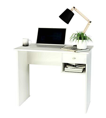 Escritorio Blanco con cajón y Hueco para Libros, 90 cm de Ancho