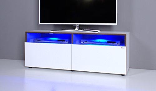 TV Bank / Lowboard NOOMO weiß / weiß Hochglanz inkl. RGB-LED Beleuchtung - 2