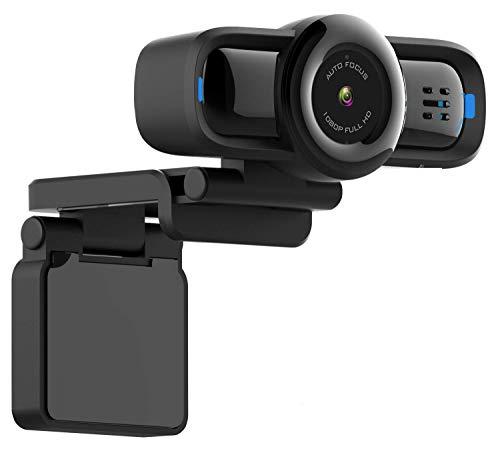 Dericam 1080P Autofokus Live-Streaming-Webcam, USB-Plug-and-Play-Desktop-Laptop-Computer-Kamera, 90 ° breiter Betrachtungswinkel, Taste zum Schutz der Privatsphäre, eingebautes Mikrofon, W2P