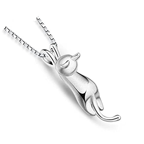Gluckliy Women's Short Necklace Cute Cat Pendant Chain Necklace