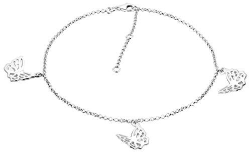 Nenalina Fußkettchen Silber mit 3 Schmetterling Anhänger, Damen Knöchel Armband verstellbar für Damen und Mädchen, Länge 23-27 cm, 925 Sterling Silber, 381011-000