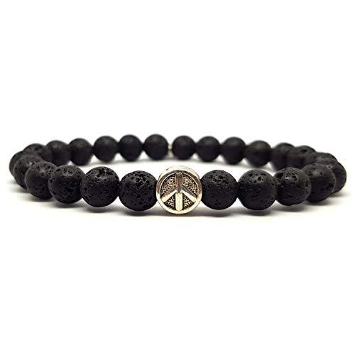 KARDINAL.WEIST Naturstein Perlenarmband mit Peace Charm Perle, Schmuck für Damen und Herren, Yoga Armband, Energie Armband (Lava Stein) -