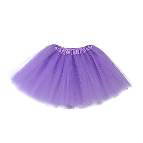 Longra Mädchen Kinder Petticoat Regenbogen Pettiskirt Bowknot Rock Tutu Kleid Dancewear Mädchen Tanzkostüme Tanzkleidung (3-10Jahre, Purple) (Pants Knit Purple)