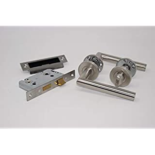 Mitred Door Handle Pack (Internal Bathroom Set)-Satin Stainless Steel