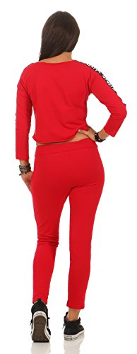 Mr. Shine Damen Hausanzug Jogginganzug Jumpsuit Langarm Pullover Sportanzug Trainingsanzug Rundhals Lang S-XXXL Rot