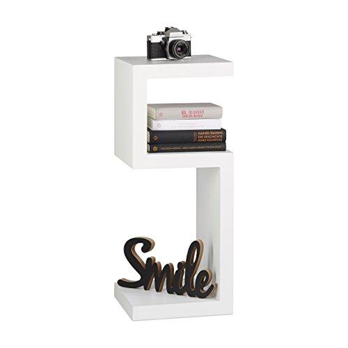 Relaxdays retro libera installazione libreria, mensola 3-tier decorative in legno, dimensioni 75x 30x 30cm, legno, bianco, 30x 74.5x 30cm