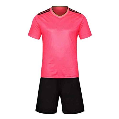 Aiweijia Herren Fußball Fußball Sport Schiedsrichter Shirt Trikot Kostüm Kurze Ärmel Wicking und schnell trocknende Fußballuniform (Kostüm Schiedsrichter Damen)