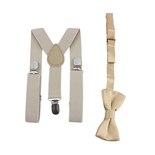 Verstellbare und elastische mit Metall Clips Polyester Kinder Design Hosenträger und Bowtie Fliege Set passende Krawatten Outfits Dark Red Bow Tie