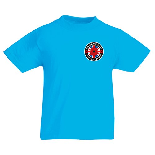 Kinder T-Shirt Lest We Forget! Remembrance Day Popy! (9-11 Years Hellblau - Hitler Kostüm Kind