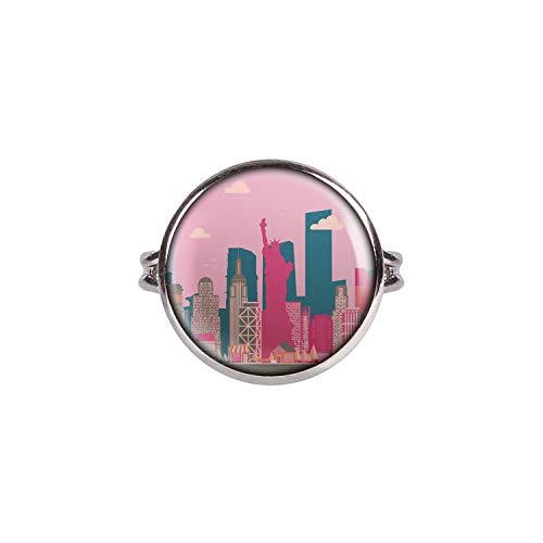 Mylery Ring mit Motiv Skyline New York Big Apple Freiheits-Statue Empire State silber 16mm