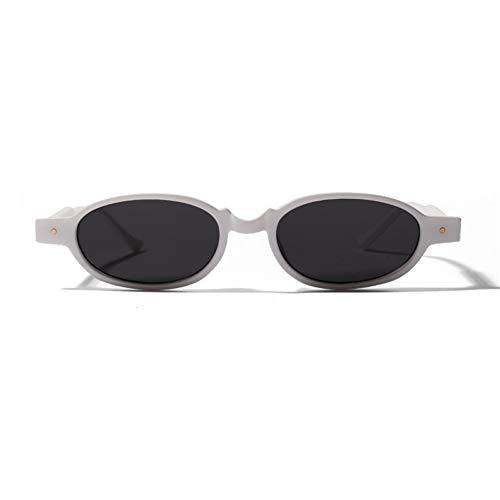 WZYMNTYJ Oval Frauen Sonnenbrille Rivet Small Frame Sonnenbrille Weiblich Männlich Ultra Light Coole Persönlichkeit Punk Rock Brille
