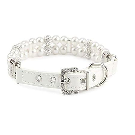 Weryffe Kleine Hund Faux Perle Kragen Halskette einstellbare Crystal Strass Charm Kragen für Cat Puppy (S)