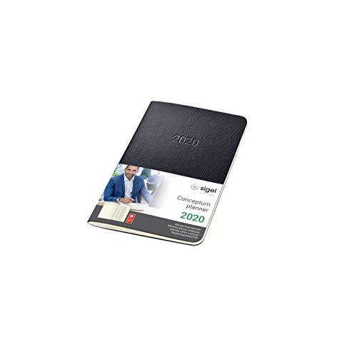 Sigel c2085 agenda-quaderno mensile 2020, ca. a6, copertina morbida, nera, conceptum