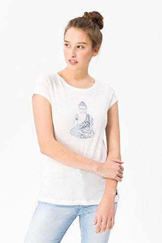 super.natural Leichtes Damen T-Shirt mit Aufdruck, Mit Merinowolle, W DIGITAL GRAPHIC TEE 140, Größe: M, Farbe: Weiß -