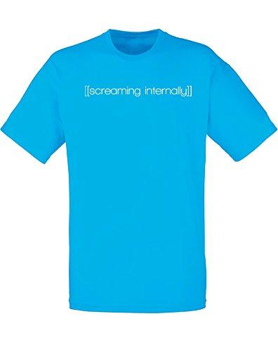 Brand88 - Brand88 - [[screaming internally]], Mann Gedruckt T-Shirt Azurblau/Weiß