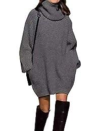 Pullover Largo Mujer Elegantes Moda Jersey Largo Otoño Invierno con  Bolsillos Color Sólido Cuello Alto Manga Larga Basic Anchos Sudaderas… c9f2b16caec1