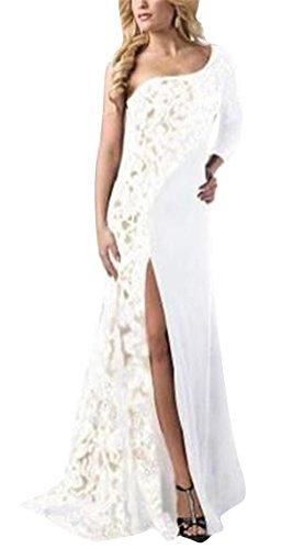 MILEEO Langes Kleid Damen Schulterfrei Spliss Spleiß Spitze Maxikleid Partykleider Brautjungfer Kleider Abendkleid Cocktailkleid Weiß