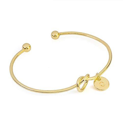 Lialbert Unisex 26 Buchstaben Armband Gravur,Einfach Geknotet Herz ArmbäNder Damen Siber Armreif Gold Rosegold (Armbänder Armreifen Gold Dünne)
