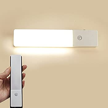 Zeefo 2 Pack Pir Motion Sensor Led Night Light, Usb Rechargeable Wireless Intelligent Wall Sconce Light, Stick On Everywhere 3 Modes Auto On Off For Baby Room Closet, Cabinet ,Wardrobe, Hallway, Kitchen, Drawer, Shed (White) 5