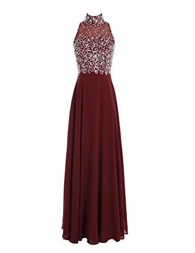 Dresstells Damen Neckholder Applikation Abendkleid Durchsichtig Ärmellos Festkleid Bodenlang Partykleid Koralle