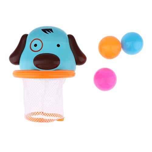 B Baosity Kinder Badespielzeug, Spaß Bad Basketballkorb mit 3 Bällen, Badewannen Spielzeug für kleine Jungen & Mädchen (Badewanne Spielzeug Ball)