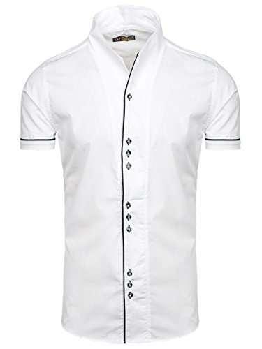 BOLF Herren Freizeithemd Kurzarm Hemd Herrenhemd Slim Fit Party 2B2 Casual Weiß