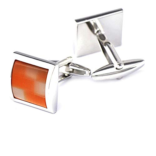 WYLCDGEOO Orange Square Manschettenknöpfe Shirt Gem Button Herrenhemd Geschenk - Manschettenknöpfe-button-shirt