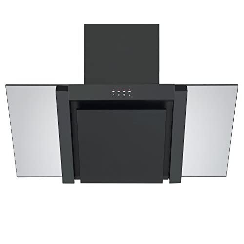 31mPSqVTpML. SS500  - Angled Glass Extractor Fan | Cookology ANG905BK Unbranded 90cm Angled Glass Chimney Cooker Hood in Black & Smoked Glass