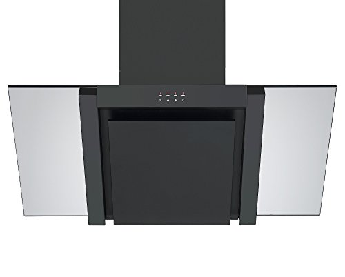 31mPSqVTpML - Angled Glass Extractor Fan   Cookology ANG905BK Unbranded 90cm Angled Glass Chimney Cooker Hood in Black & Smoked Glass
