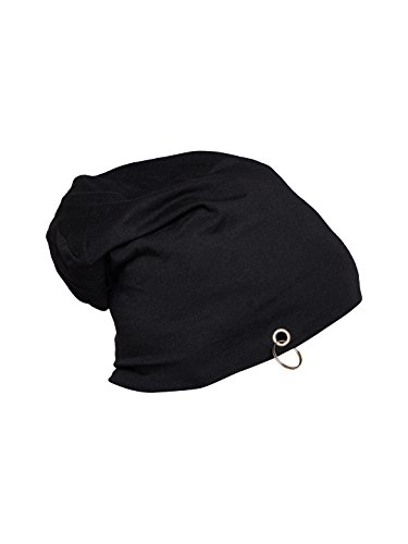 Vimal Black Cotton Blended Free Size Beanie Cap For Men