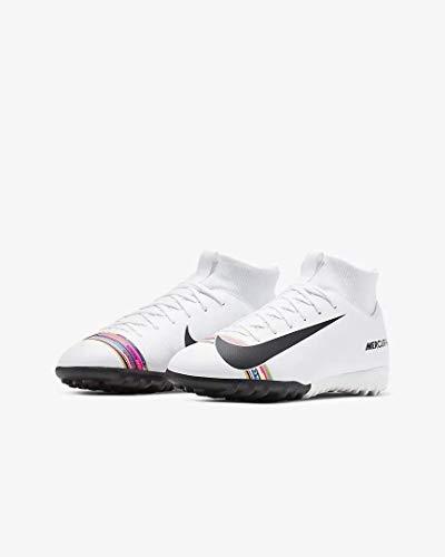 Nike Jr Superfly 6 Academy GS Tf, Scarpe da Calcetto Indoor Unisex-Bambini, Multicolore (White/Black/Pure Platinum 000), 33.5 EU
