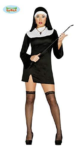 Suora Kostüm - süßes kurzes Nonnen Karneval Fasching Kostüm Damen Kloster Kirche schwarz Gr. M-L, Größe:L