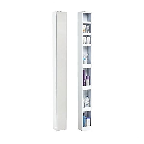 Bad-turn Spiegel-Drehregal - 14 x 12,5 cm, h 158 cm - weiß