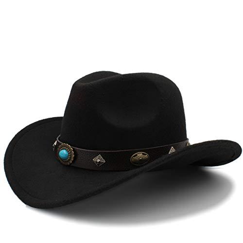 Otoño Invierno Cálido Gorras 2018 Nuevo Sombrero de Vaquero Occidental Para Hombres Mujeres Al Aire Libre Grandes Sombreros de ala Sólidos Jazz Sombreros Con Cinturón de Tamaño 56-58 cm Dropshipping D