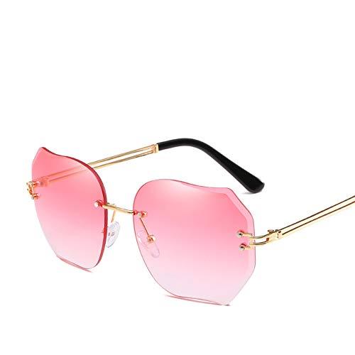 PL-IMK Sonnenbrillen Frauen Einzigartige Faux Perle Inlay Mode Brille Retro Polygon Unregelmäßige Objektiv Gradient Sonnenbrille (2)