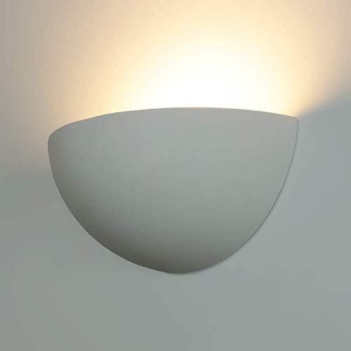 Lámpara LED/halógeno yeso Bowl aplique Plaster de 3Blanco IP20Casquillo E14, Interior de pared...