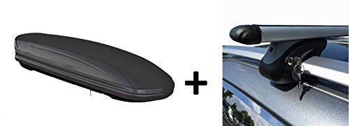 Skibox Dachbox matt schwarz VDP-MAA460M großer Dachkoffer für Ski 460 Liter abschließbar + Alu-Relingträger Dachgepäckträger für Opel Zafira A 99-04