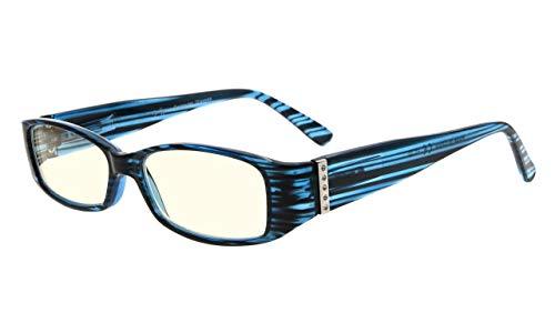Eyekepper Computer Brille,UV Schutz Brille mit Original österreichisch Kristalle Frau,Blau +0.00