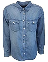 76bf06b1f7 New Look Women s Yoke Front 2 Pocket Denim Long Sleeve Shirt