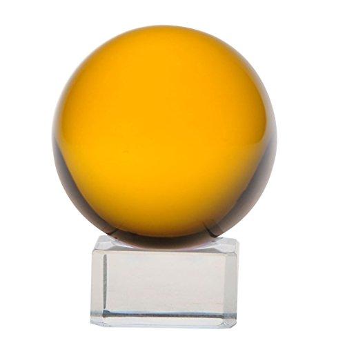 H&D 40 mm Feng Shui Kristallkugel Meditation mit Glas Ständer Glas Briefbeschwerer, Amber Gelb