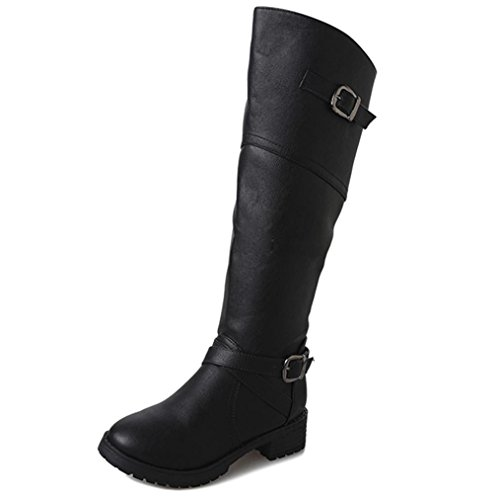 Manadlian_Botas Botas, Manadlian Zapatos Cuero Mujer Botas Hebilla Calzado Plano Martin (EU:42, Negro)