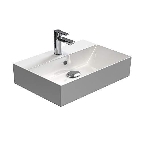 Aqua Bagno | Design Waschbecken | Aufsatzbecken | Aufsatz-Waschtisch | Dünner Rand | Wandmontage Möglich | hochwertige Keramik | Weiß | KS.60 | 60 x 42 cm