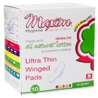 Maxim Hygiene 100% Natural Cotton Ultra Thin Winged Pads, Overnight 10 count (a) - 2pc by Maxim Hygiene Products