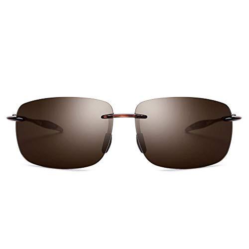 Idebris Ultraleichte rahmenlose Sonnenbrille für Herren mit Cooler Sonnenbrille und sportlicher Sonnenbrille (Color : Braun)