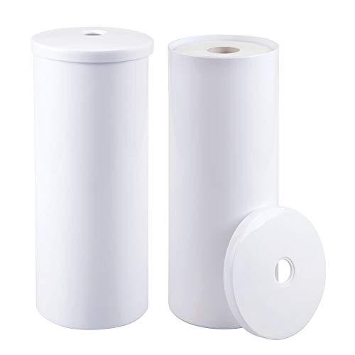 mDesign 2er-Set Toilettenpapierhalter freistehend – eleganter Klopapierhalter für jeweils 3 Rollen – Toilettenrollenhalter aus robustem Kunststoff ideal für kleine Räume – weiß